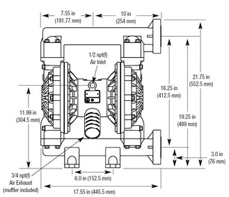 Image result for dimension for air operated pump